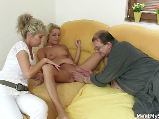 His Folks Tips Her Into Romp